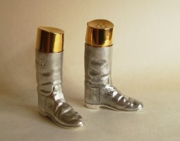 Riding boot salt and pepper shakers