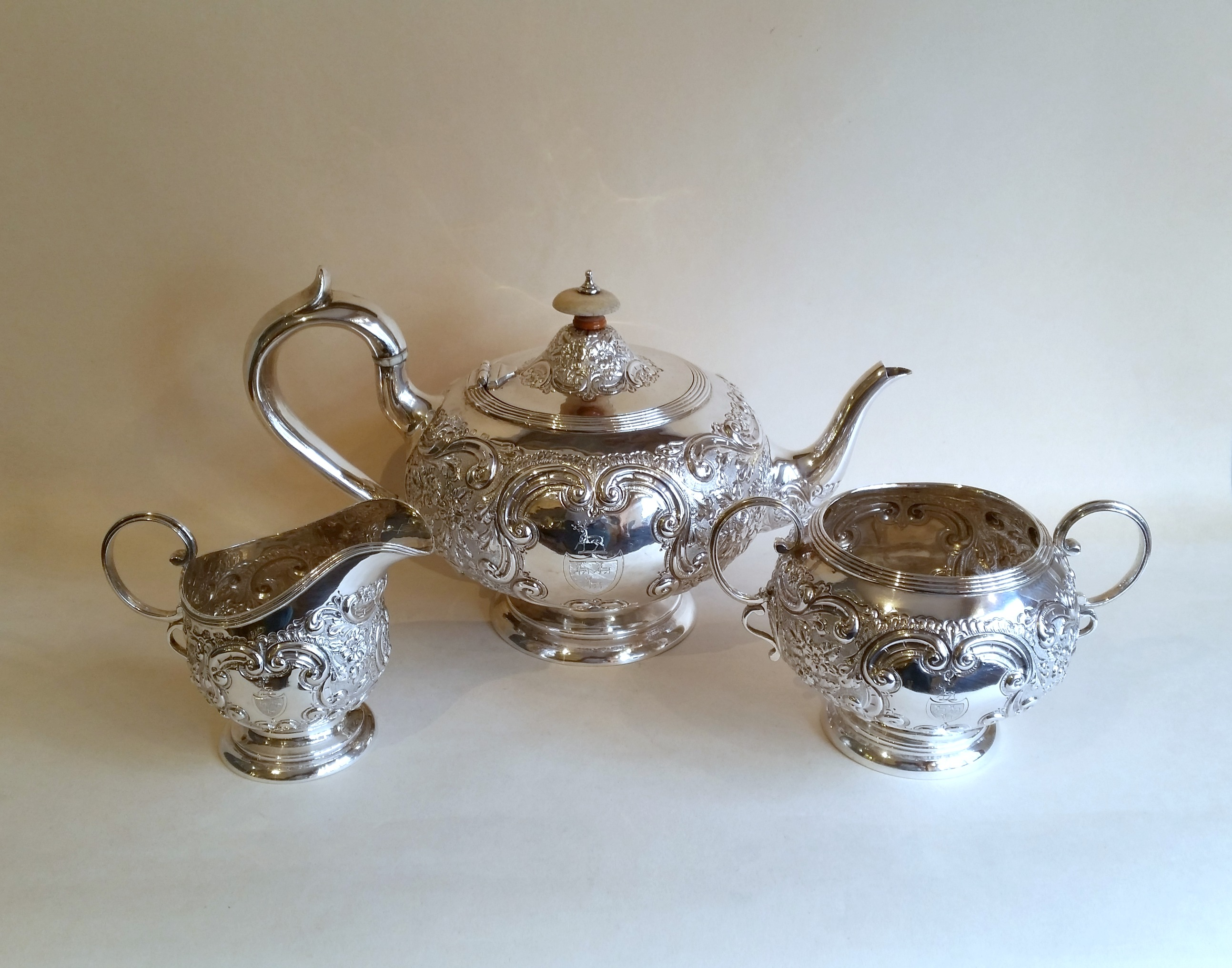 Victorian Chased Silver Teaset SOLD Henry Willis