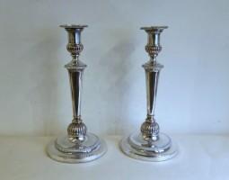 George III Old Sheffield plate candlesticks