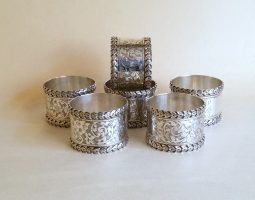 Set of six silver napkin rings