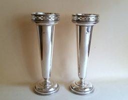 Pair of Elkington silver vases