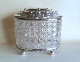Victorian glass silver biscuit barrel