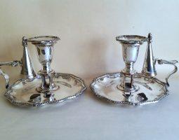 Pair of Old Sheffield Plate chambersticks