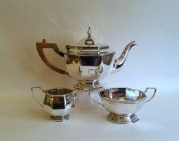 Small Victorian silver octagonal teaset