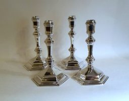 Set of 4 Edwardian silver candlesticks
