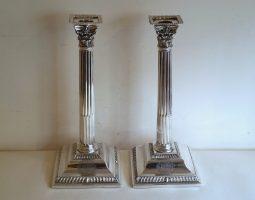 Emick Romer silver George III candlesticks