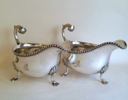 Garrard silver sauceboats