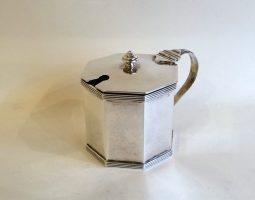Octagonal silver mustard pot