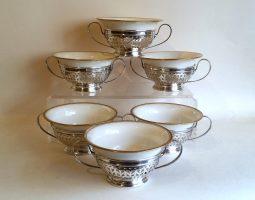 Set of 6 bouillon bowls Gorhan silver holders