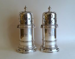 Pair of Victorian silvef lighthouse sugar casters