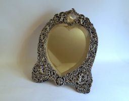 Victorian silver dressing mirror