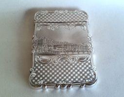 Victorian silver Burns card case