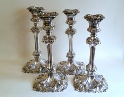 Set of four William IV silver candlesticks