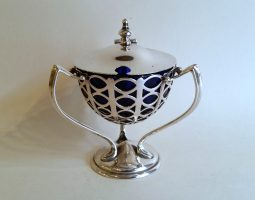 Art nouveau silver mustard pot