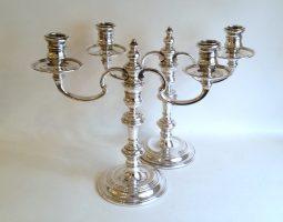 Pair of silver candelabra