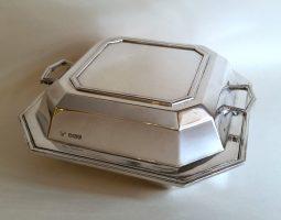 Art deco silver entree dish
