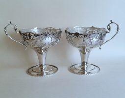 Pair of silver sundae dishes