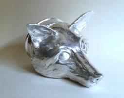 Silver fox head stirrup cup