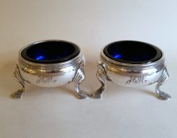 Pair of George II silver salts