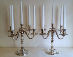 Pair of 5 light silver candelabra