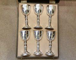 6 silver Garrard goblets in box