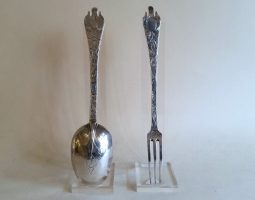 William and Mary silver engraved trefid spoon and fork